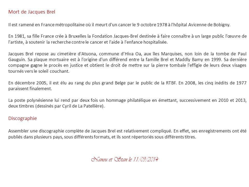 Nanou et Stan le 31/03/2017 Mort de Jacques Brel Discographie