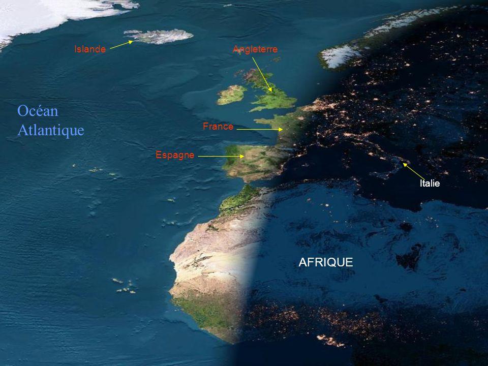 Islande Angleterre Océan Atlantique France Espagne Italie AFRIQUE