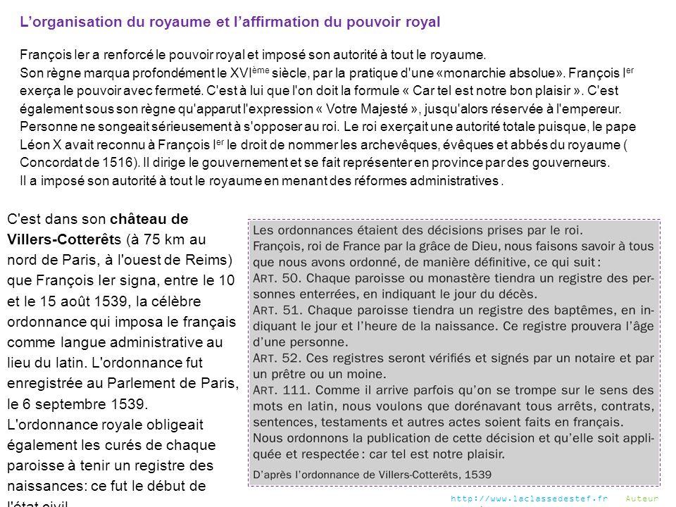 L'organisation du royaume et l'affirmation du pouvoir royal