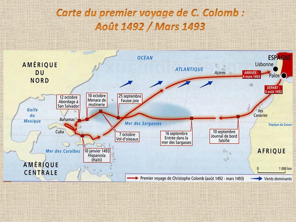 Carte du premier voyage de C. Colomb :