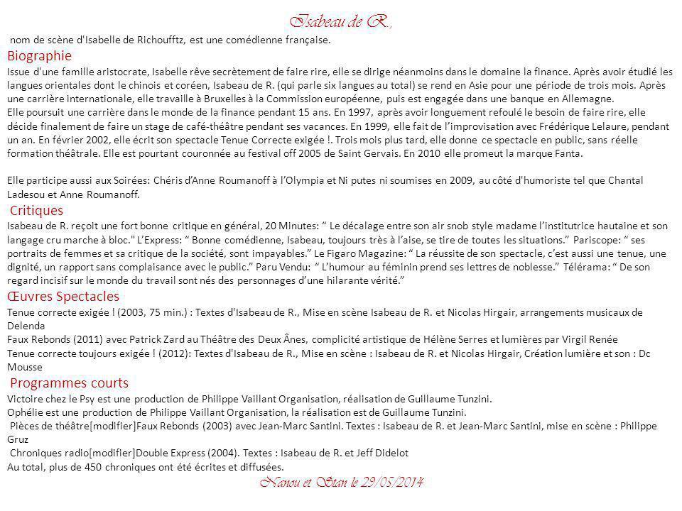 Isabeau de R., Biographie Œuvres Spectacles