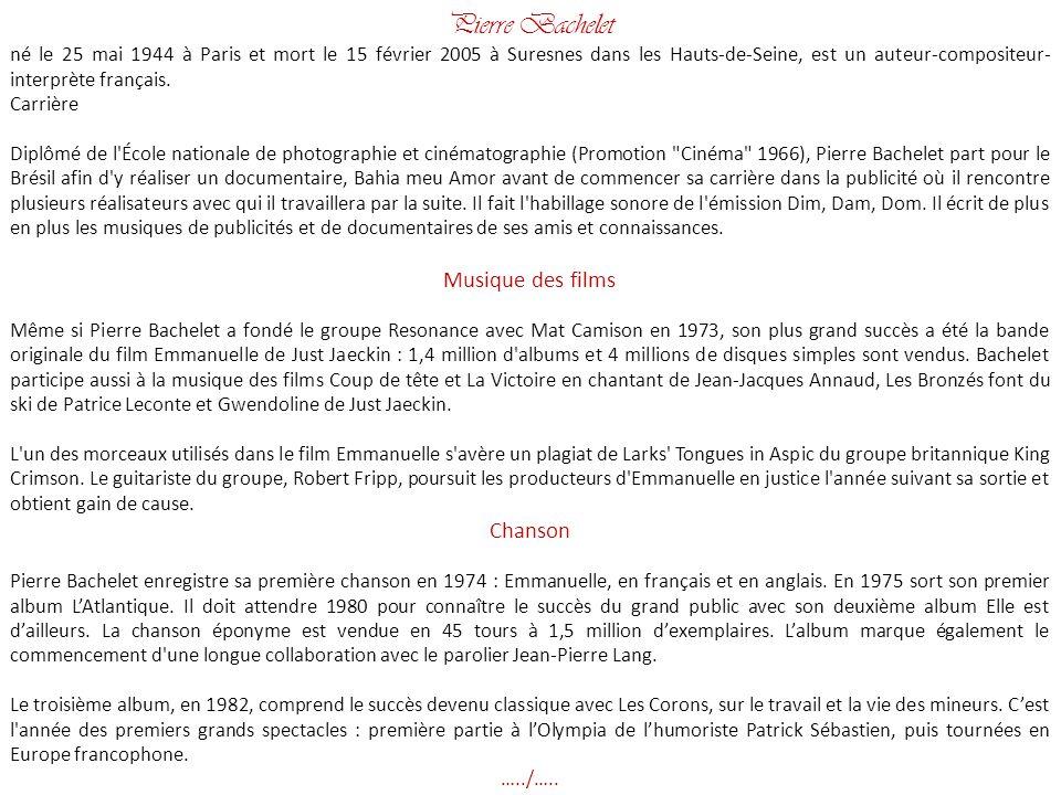 Pierre Bachelet Musique des films Chanson