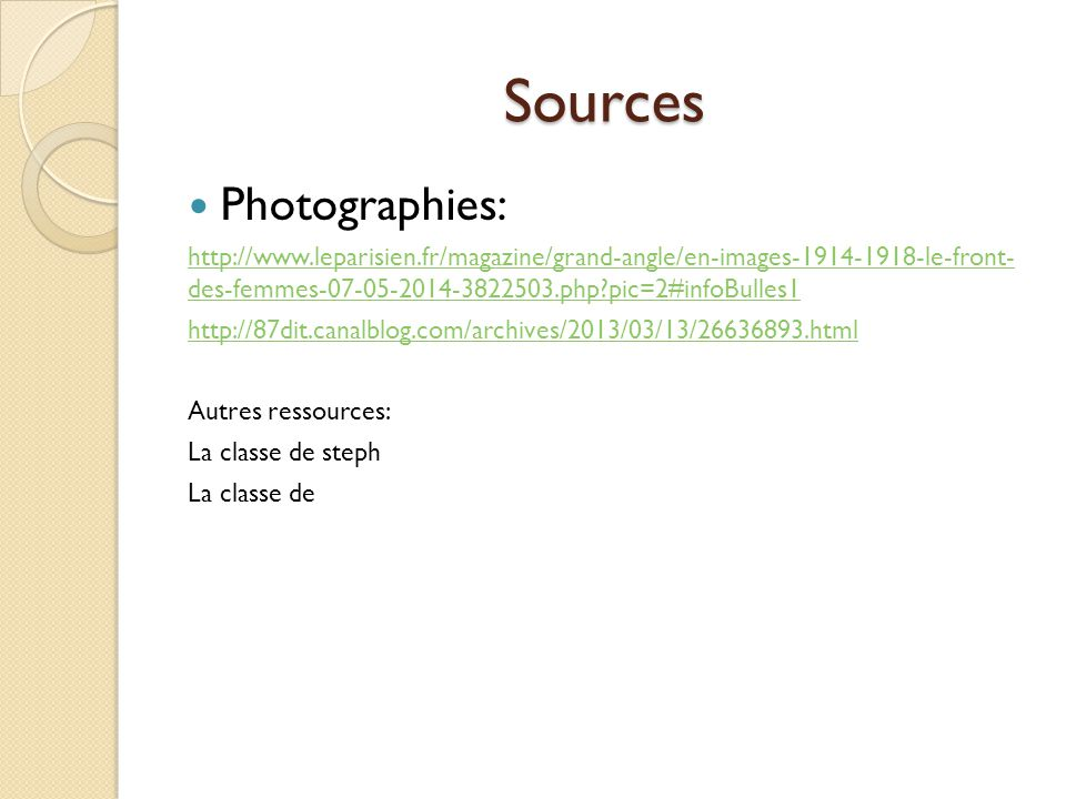 Sources Photographies: