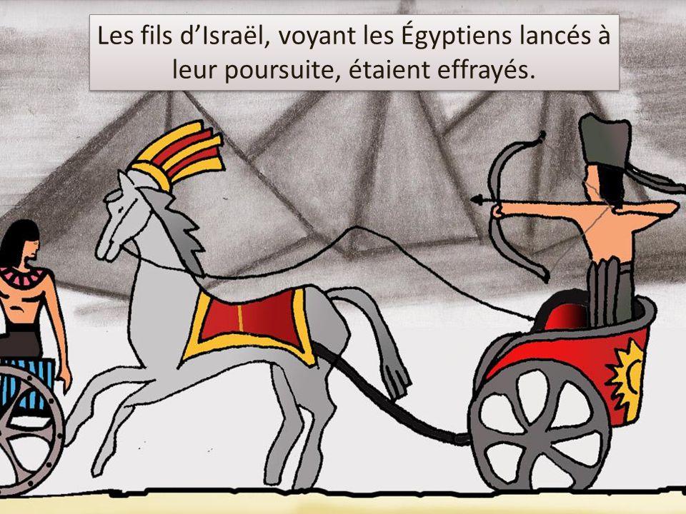 Les fils d'Israël, voyant les Égyptiens lancés à leur poursuite, étaient effrayés.