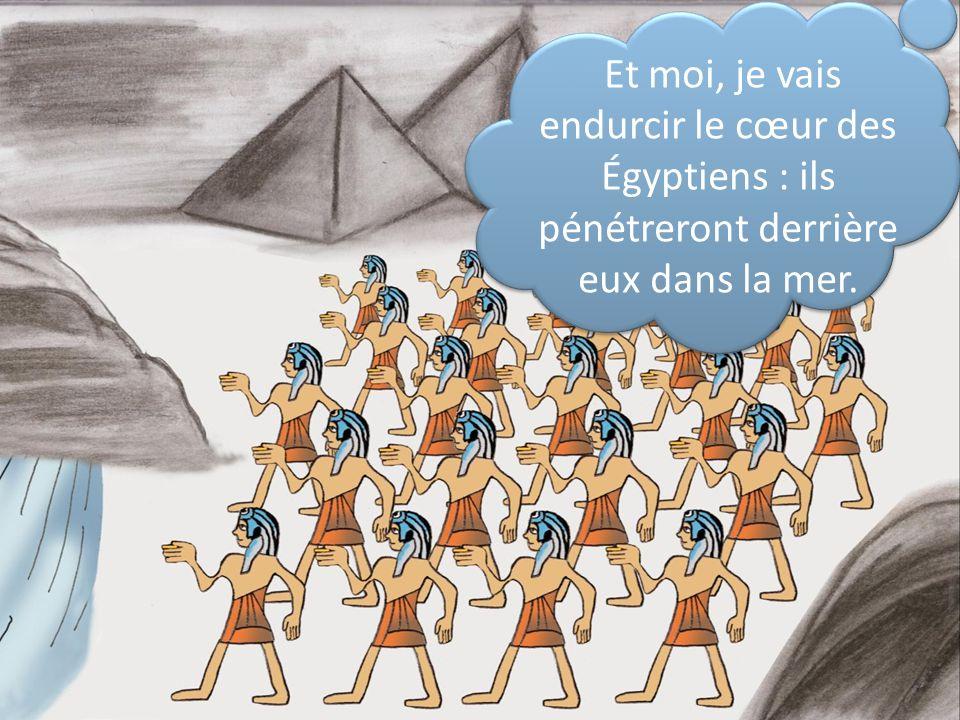 Et moi, je vais endurcir le cœur des Égyptiens : ils pénétreront derrière eux dans la mer.