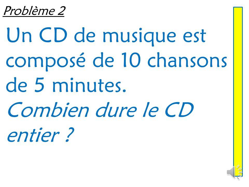 Un CD de musique est composé de 10 chansons de 5 minutes.