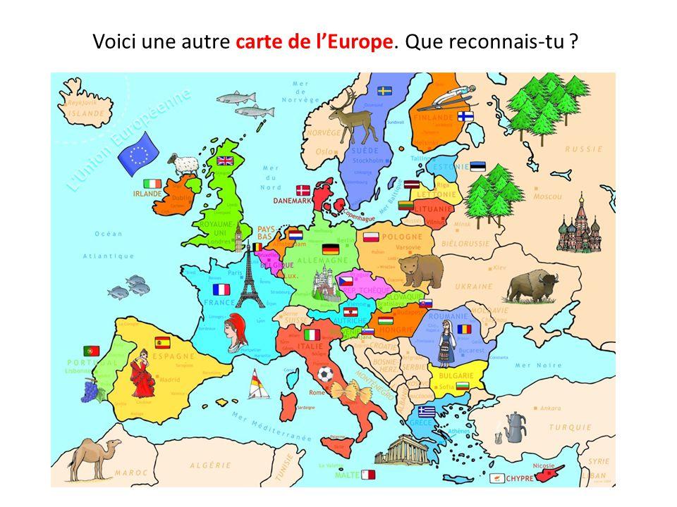Voici une autre carte de l'Europe. Que reconnais-tu