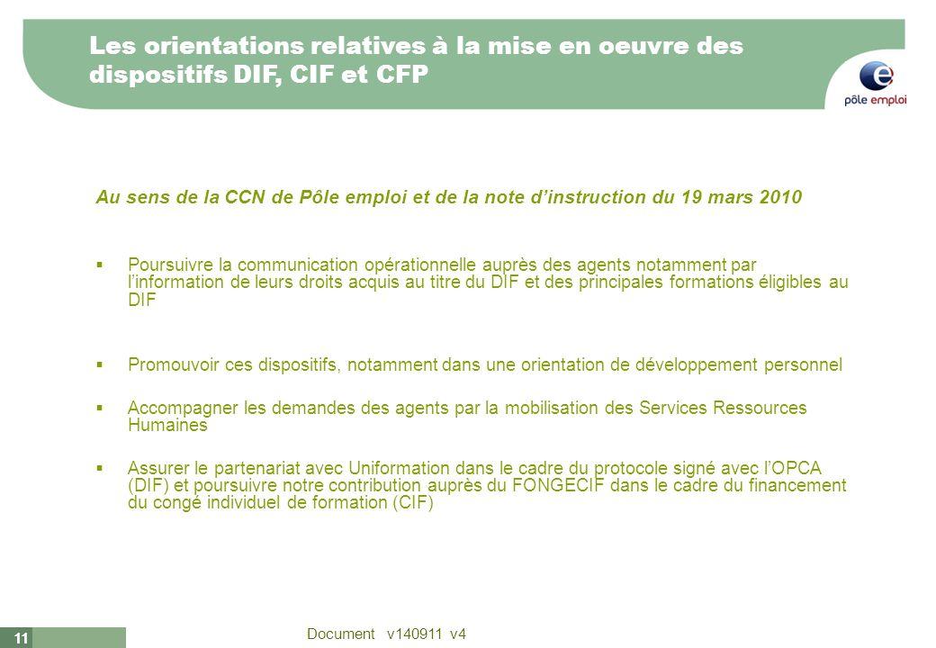 Les orientations relatives à la mise en oeuvre des dispositifs DIF, CIF et CFP