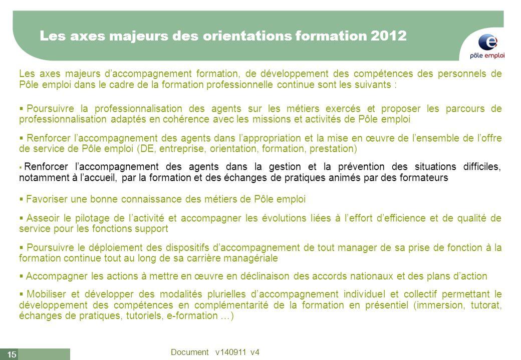 Les axes majeurs des orientations formation 2012