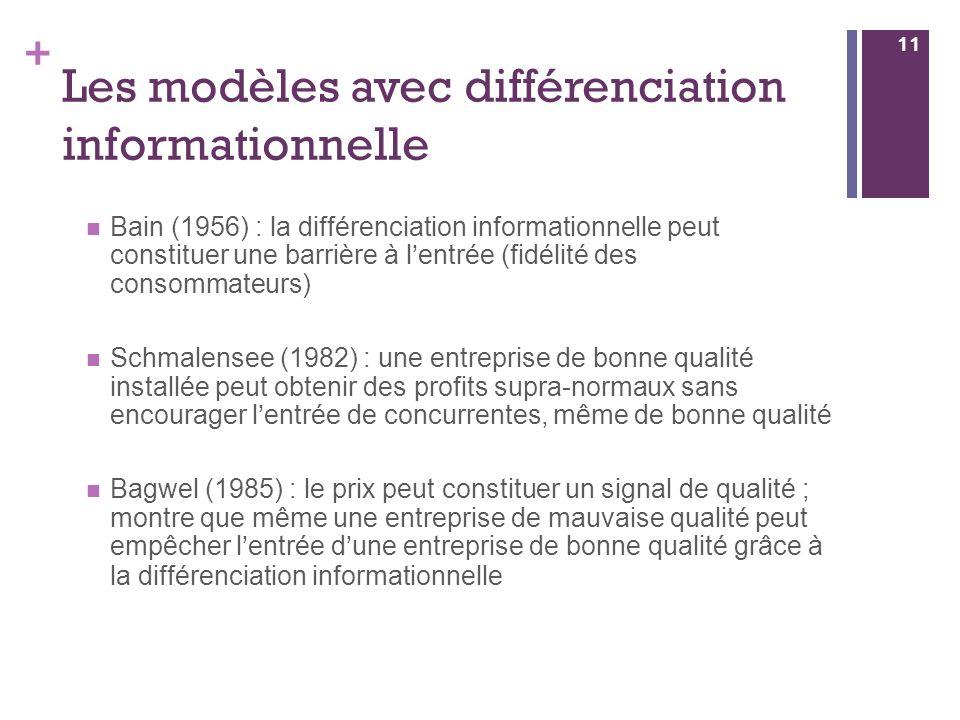 Les modèles avec différenciation informationnelle