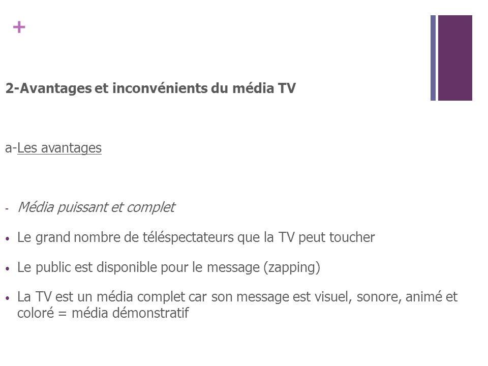 2-Avantages et inconvénients du média TV