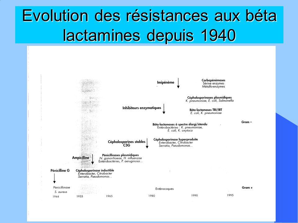 Evolution des résistances aux béta lactamines depuis 1940