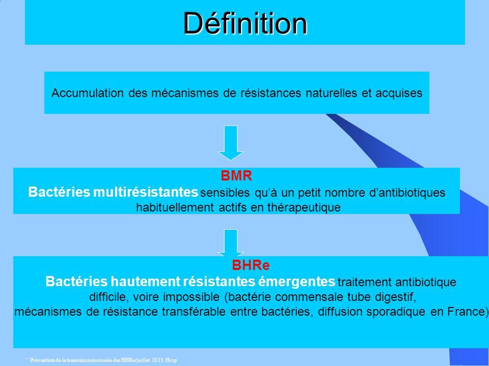 Définition Accumulation des mécanismes de résistances naturelles et acquises. BMR.