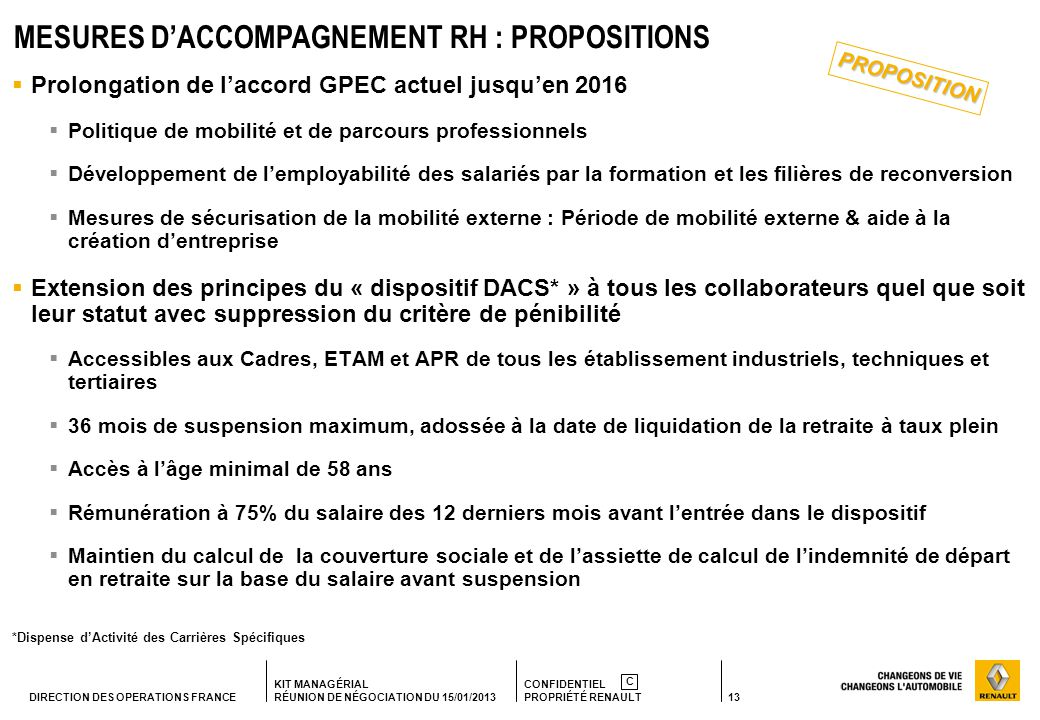 MESURES D'ACCOMPAGNEMENT RH : PROPOSITIONS