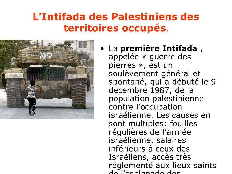 L'Intifada des Palestiniens des territoires occupés.