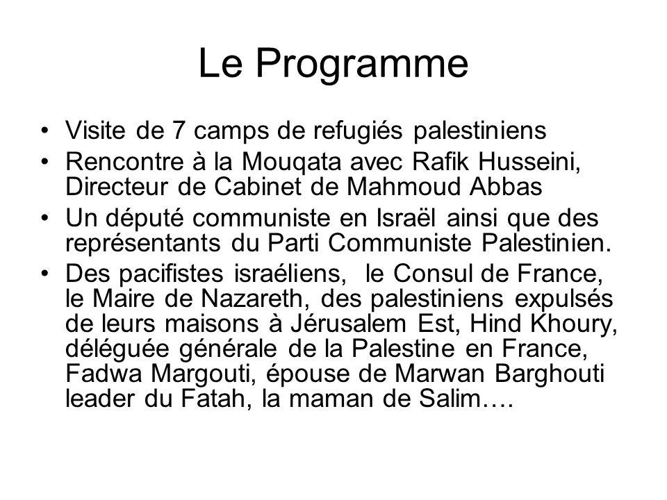 Le Programme Visite de 7 camps de refugiés palestiniens