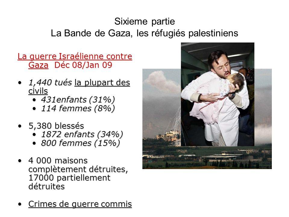 Sixieme partie La Bande de Gaza, les réfugiés palestiniens