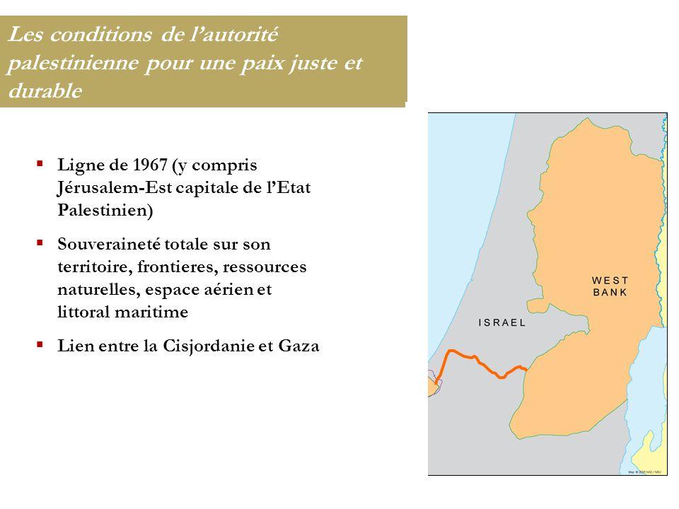 Les conditions de l'autorité palestinienne pour une paix juste et durable