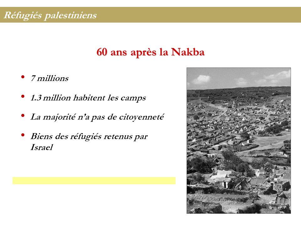 60 ans après la Nakba Réfugiés palestiniens 7 millions