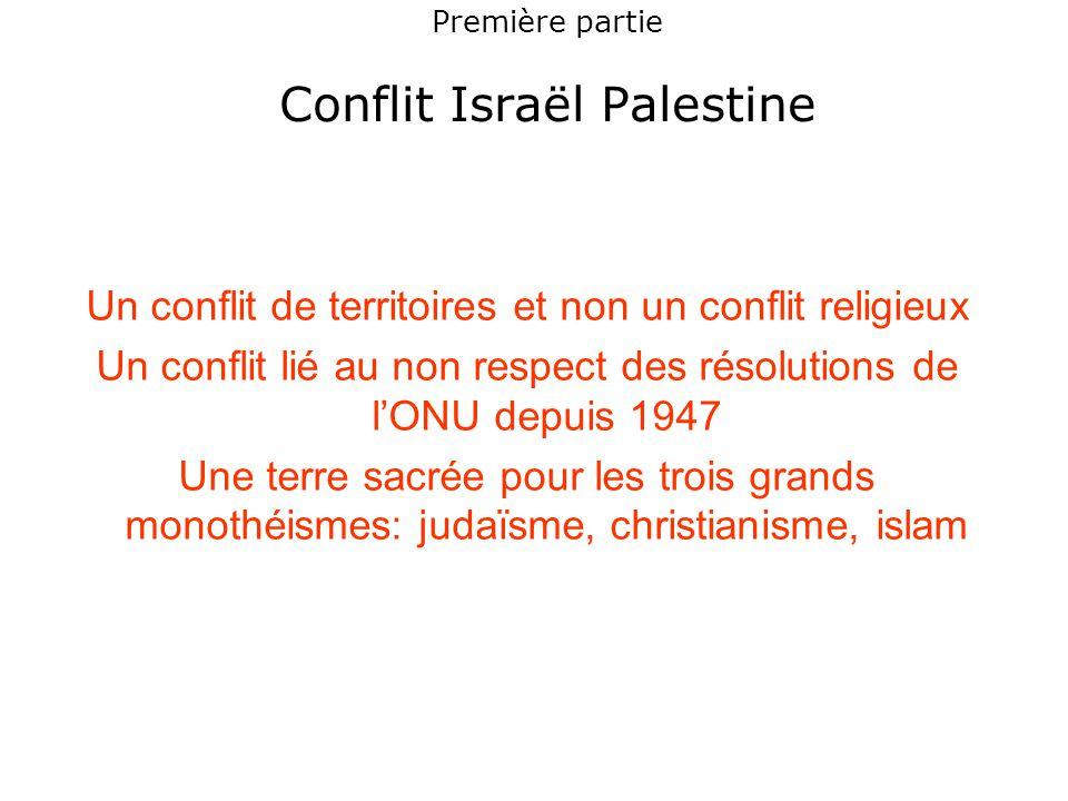 Première partie Conflit Israël Palestine