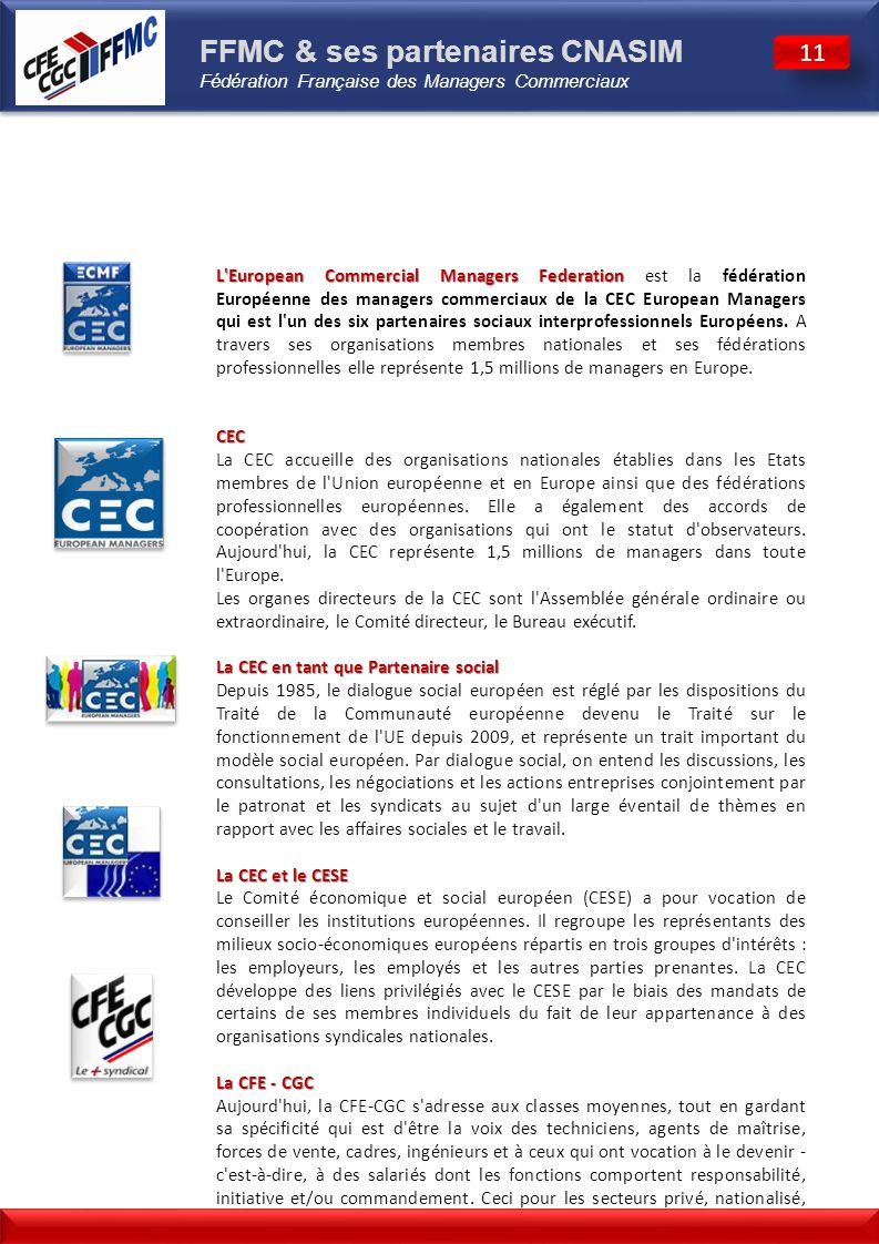 FFMC & ses partenaires CNASIM Fédération Française des Managers Commerciaux
