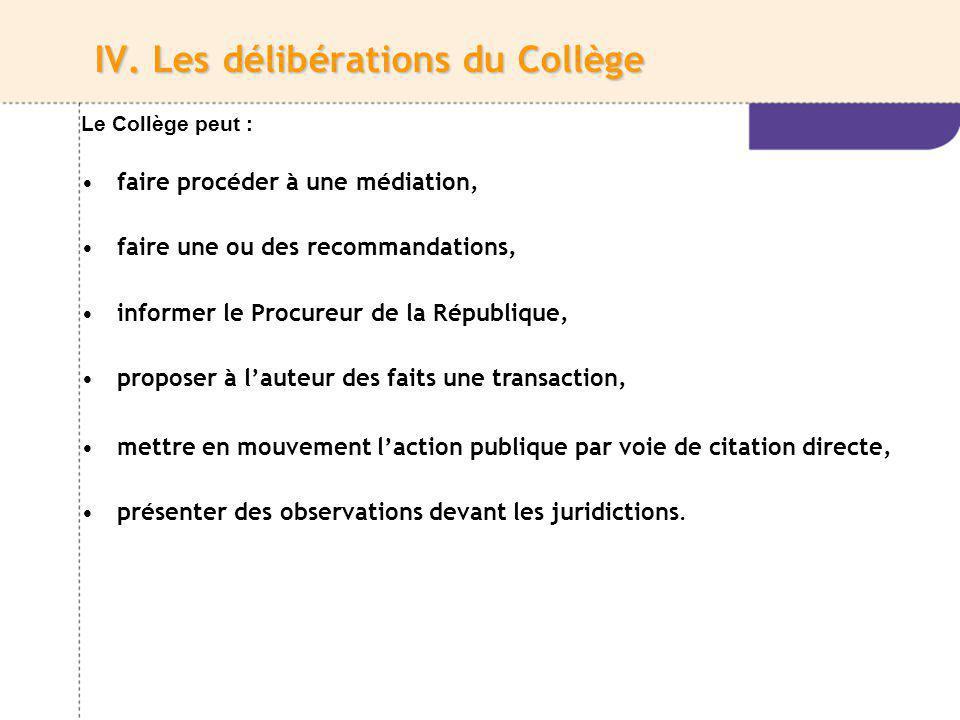 IV. Les délibérations du Collège