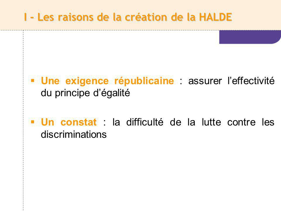I - Les raisons de la création de la HALDE