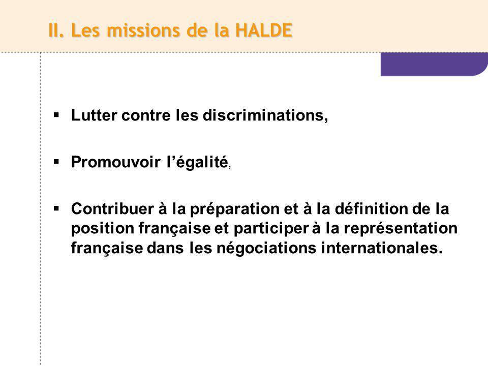 II. Les missions de la HALDE