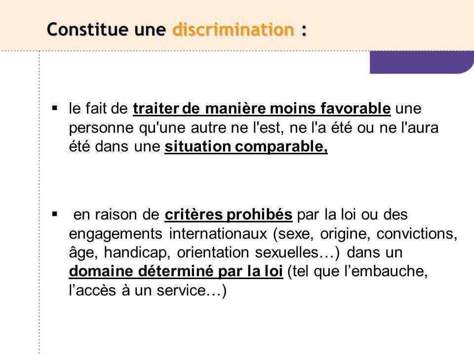 Constitue une discrimination :
