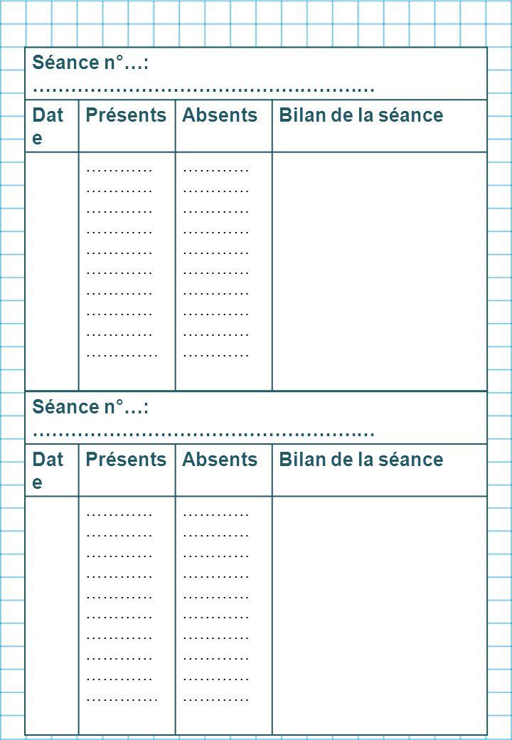 Séance n°…: ……………………………………………… Date Présents Absents