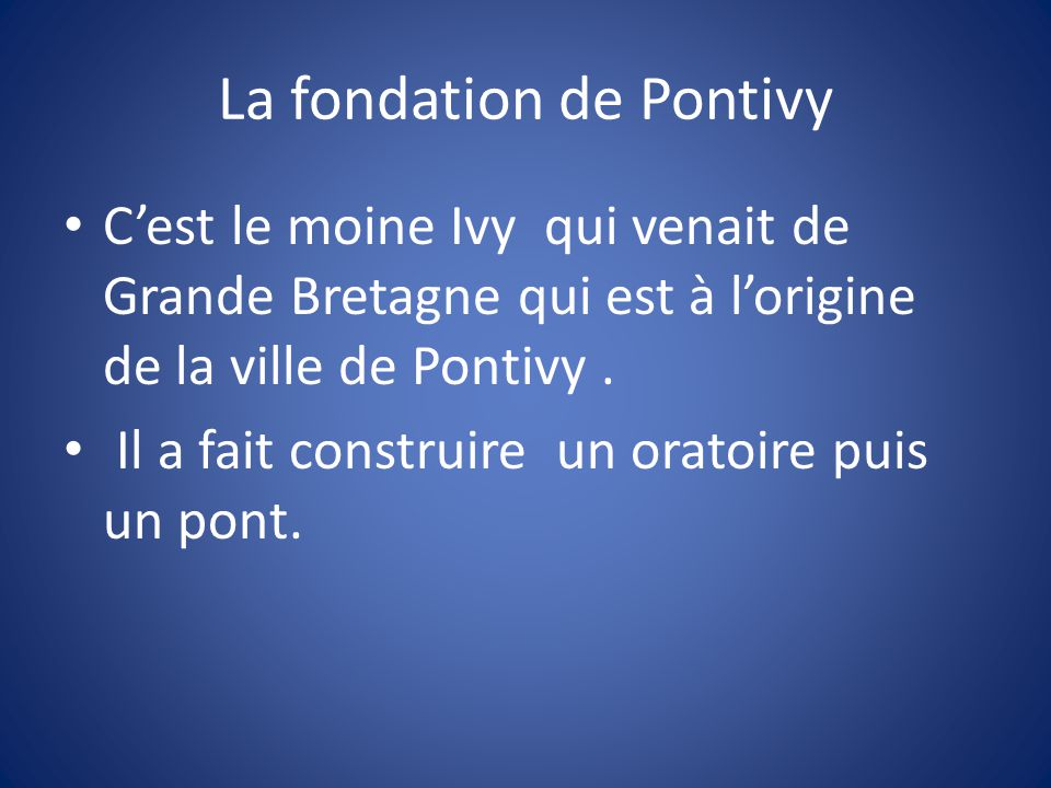 La fondation de Pontivy