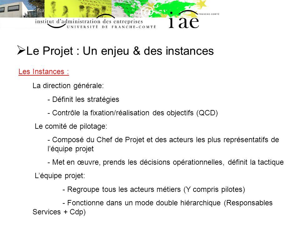 Le Projet : Un enjeu & des instances