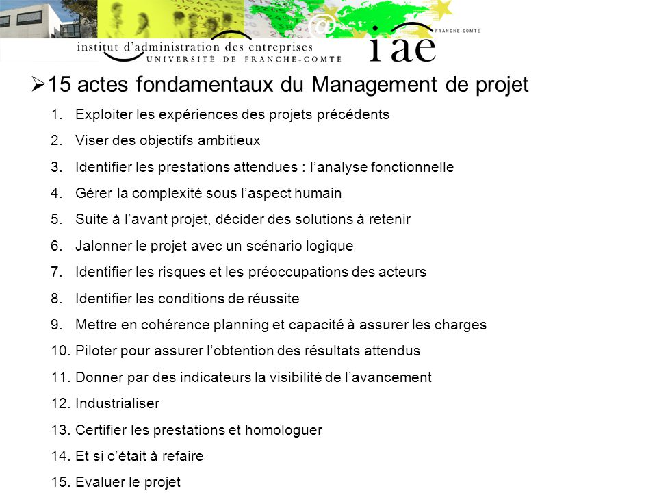 15 actes fondamentaux du Management de projet