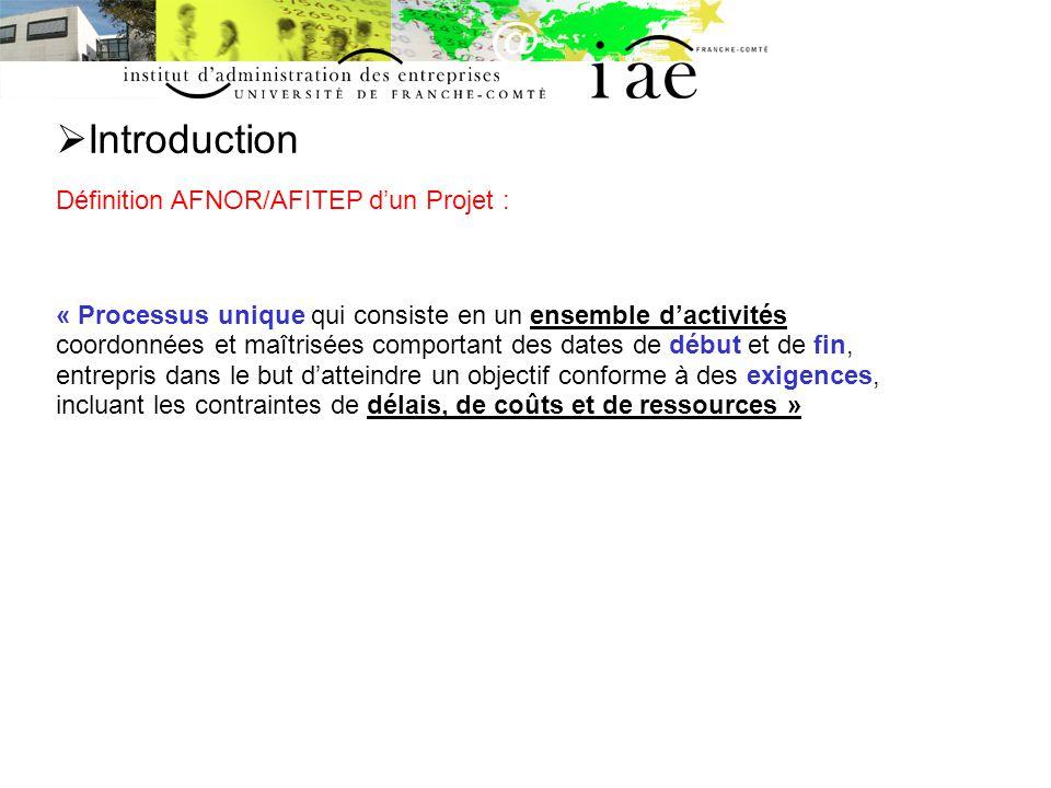 Introduction Définition AFNOR/AFITEP d'un Projet :
