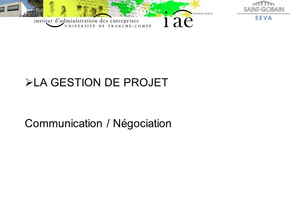 LA GESTION DE PROJET Communication / Négociation