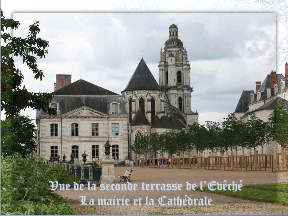 Vue de la seconde terrasse de l'Evêché La mairie et la Cathédrale