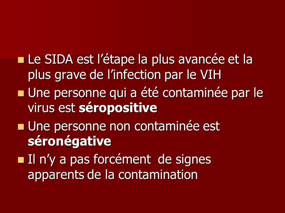 Le SIDA est l'étape la plus avancée et la plus grave de l'infection par le VIH