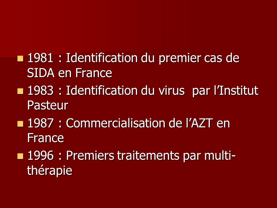 1981 : Identification du premier cas de SIDA en France