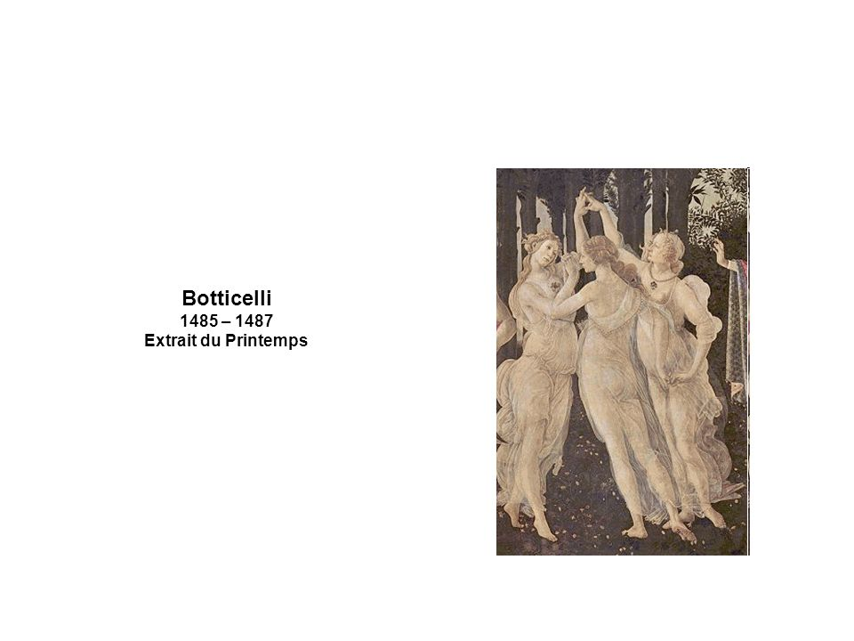 Botticelli 1485 – 1487 Extrait du Printemps