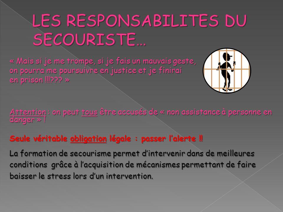 LES RESPONSABILITES DU SECOURISTE…