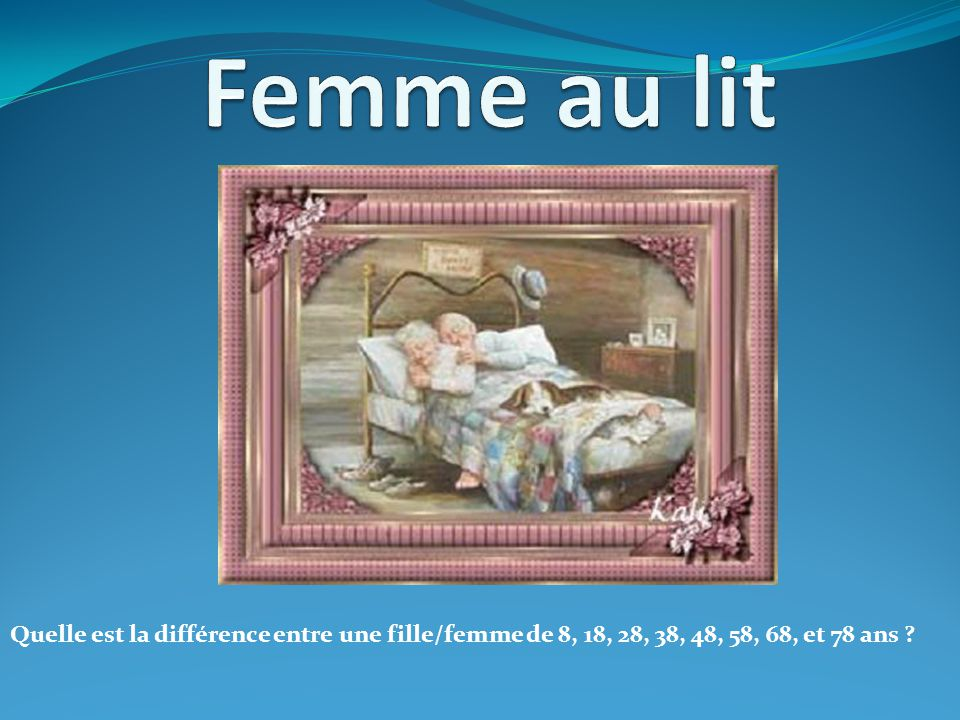 Femme au lit Quelle est la différence entre une fille/femme de 8, 18, 28, 38, 48, 58, 68, et 78 ans