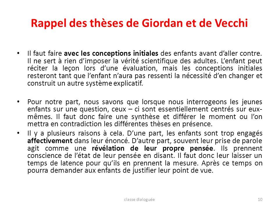 Rappel des thèses de Giordan et de Vecchi