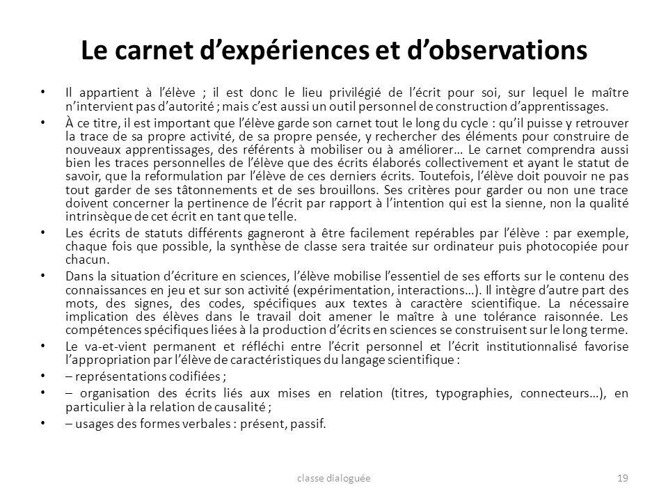 Le carnet d'expériences et d'observations