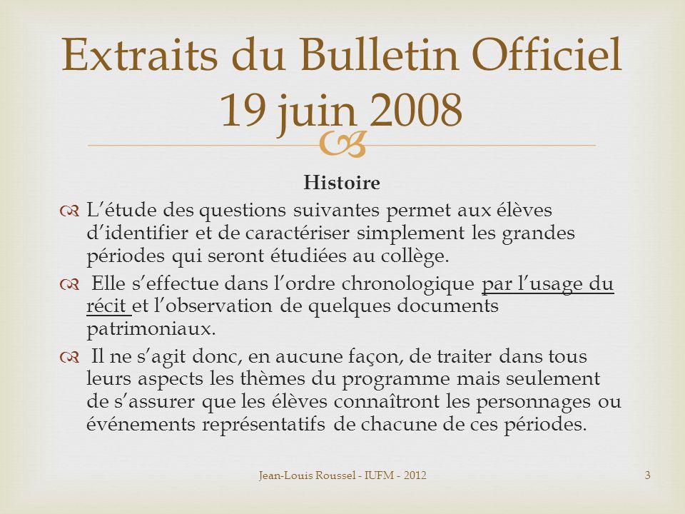 Extraits du Bulletin Officiel 19 juin 2008