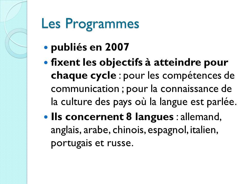 Les Programmes publiés en 2007