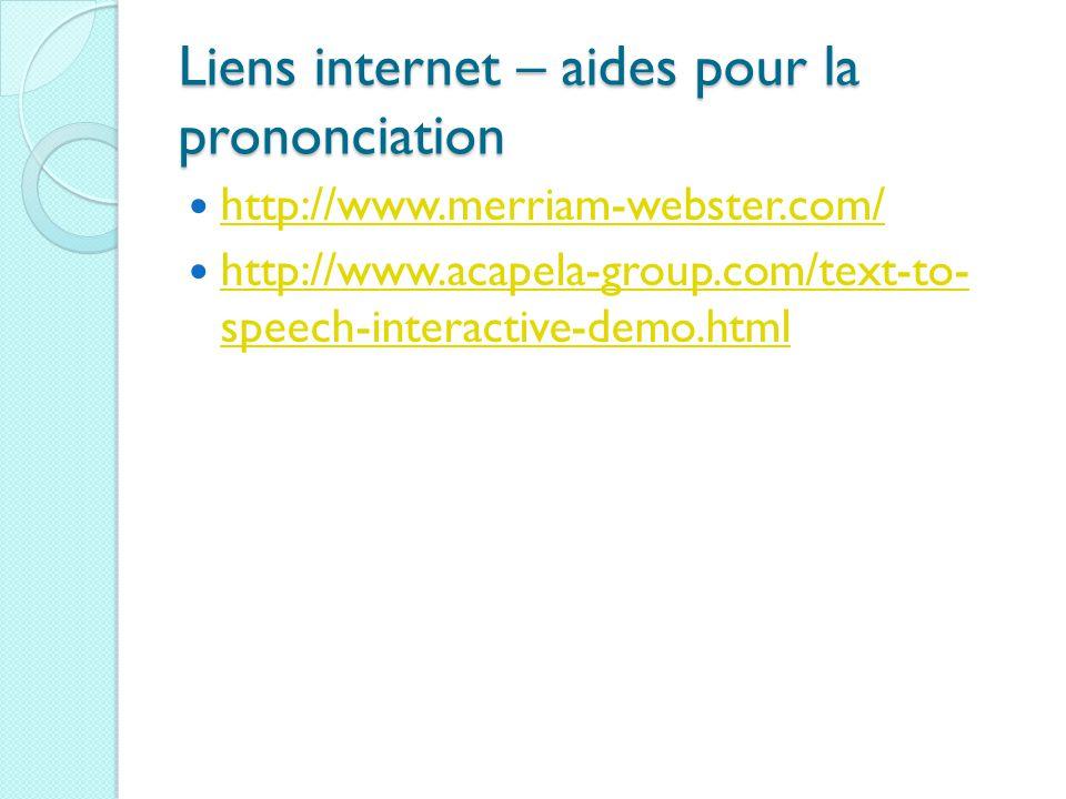 Liens internet – aides pour la prononciation