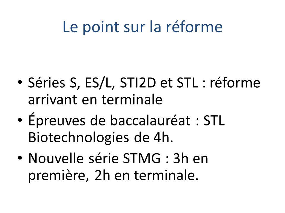 Le point sur la réforme Séries S, ES/L, STI2D et STL : réforme arrivant en terminale. Épreuves de baccalauréat : STL Biotechnologies de 4h.