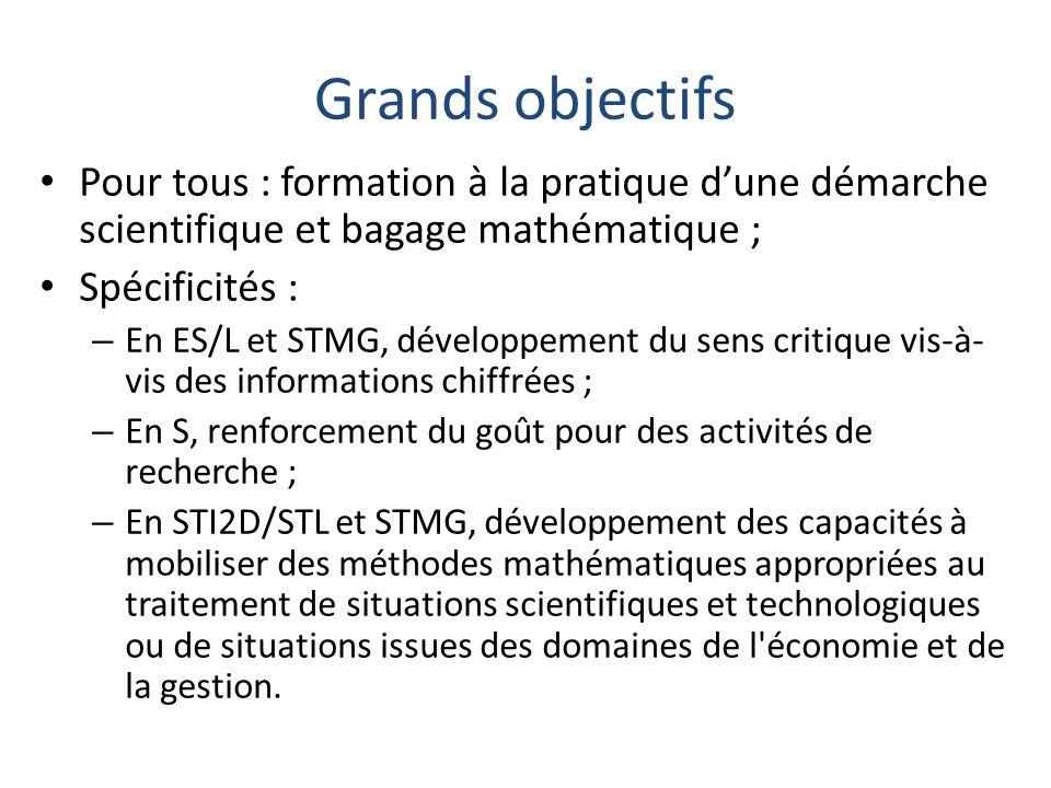 Grands objectifs Pour tous : formation à la pratique d'une démarche scientifique et bagage mathématique ;