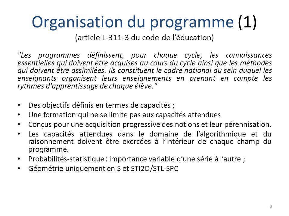 Organisation du programme (1) (article L-311-3 du code de l'éducation)
