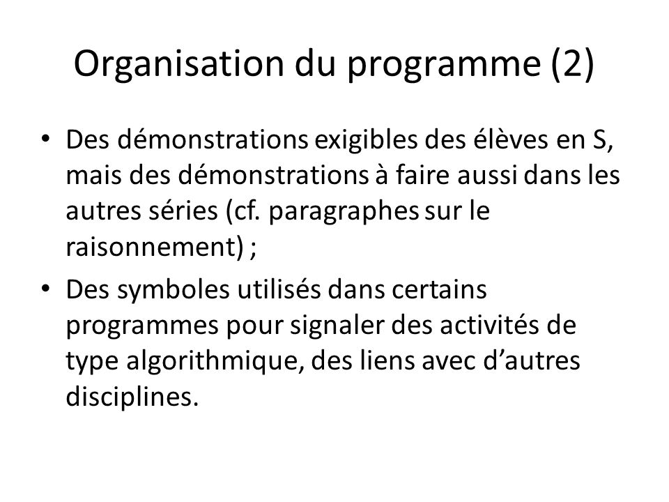 Organisation du programme (2)